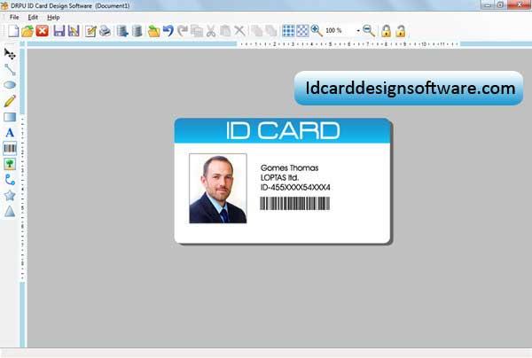 Screenshot of ID Card Design Software